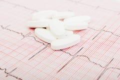 Pilules sur l'électrocardiogramme Photo stock