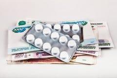Pilules sur les roubles russes image stock