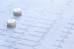 Pilules sur un papier d'électrocardiogramme Image libre de droits