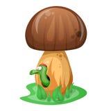 Pilz- und Karikaturwurmillustration Stockfotos