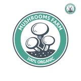 Pilzbauernhof-Logoschablone ist eine ausgezeichnete Logoschablone, die für Firma in hohem Grade passend ist Lizenzfreie Stockbilder