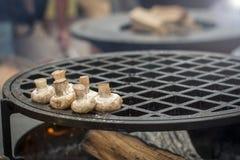 Pilzchampignonfischrogen auf einem enormen Grill Stockfoto
