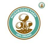 Pilzchampignonlogo Lokalisierter Pilz auf weißem Hintergrund Stockbild