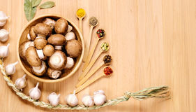 Pilze, Knoblauch und andere Gewürze lizenzfreie stockfotografie
