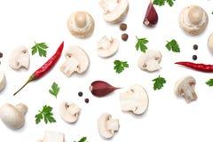 Pilze mit der Petersilie lokalisiert auf weißem Hintergrund Beschneidungspfad eingeschlossen Lizenzfreies Stockfoto