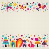 Pilze, Schmetterlinge, Schnecken und Blumennaturhintergrundillustration Stockfotografie