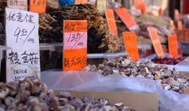 Pilze und andere frische Produkte angezeigt in Chinatown Lizenzfreies Stockbild