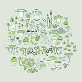 Pilze und Waldkräuter Stockbild