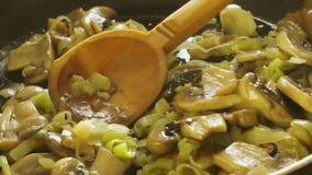 Pilze und Zwiebeln brieten stock footage