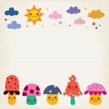 Pilze, Wolken, Sonnennaturillustration zeichneten Papierhintergrund Stockfotografie