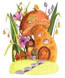 Pilzhaus mit Gras, Blumen, Zaun und Gießkanne stock abbildung