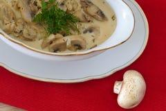 Pilzragout, -champignons und -zwiebel in der Sahnesauce Lizenzfreies Stockbild