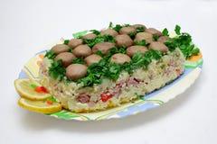 Pilzsalat Stockfoto