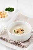 Pilzsuppe in einer weißen Schüssel und in den Croutons Lizenzfreie Stockbilder