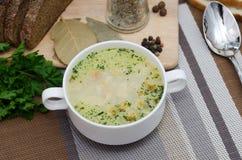Pilzsuppe mit Croutons in einem weißen Teller ist auf einem Holztisch lizenzfreies stockfoto