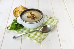 Pilzsuppe mit einem Brötchen und einer Petersilie Lizenzfreie Stockbilder