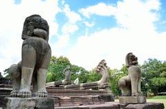 Pimai forntida tempel i Korat, Thailand. Arkivbilder
