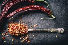 Pimentão Chili Peppers Diversas pimentas secadas e pimentas esmagadas em uma colher velha derramaram ao redor Ingredientes mexica Imagens de Stock
