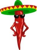 Pimentão mexicano quente com sombrero verde Fotos de Stock Royalty Free