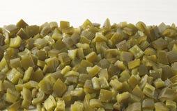 Pimentões verdes cortados dos Jalapenos Imagens de Stock