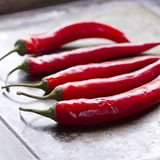 5 pimentões vermelhos em uma folha de cozimento Fotos de Stock Royalty Free