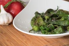 Piment, geroosterde peper op de plaat, Spaanse schotel Stock Foto