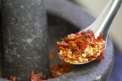 Piment rouge sec accumulé en acier inoxydable Images libres de droits
