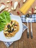 Piment sec par spaghetti Photos libres de droits