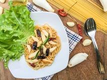 Piment sec par spaghetti Images libres de droits