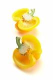 Pimenta amarela doce no fundo branco Fotografia de Stock Royalty Free