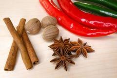 Pimenta de pimentão, canela, anis de estrela e noz-moscada Imagens de Stock