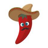 Pimenta de pimentão encarnado dos desenhos animados com chapéu mexicano Foto de Stock Royalty Free