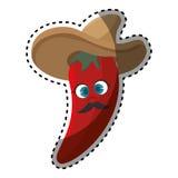 Pimenta de pimentão encarnado dos desenhos animados da etiqueta com chapéu mexicano Imagens de Stock