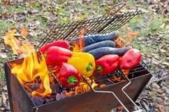 A pimenta de sino dos vegetais e as beringelas são grelhadas em um fogo aberto acampar fotos de stock