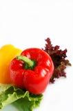 Pimenta de sino vermelha nas folhas da alface foto de stock