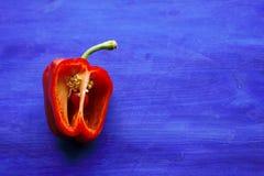 Pimenta de sino vermelha no fundo azul Fotos de Stock Royalty Free