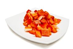 Pimenta doce vermelha cortada Fotos de Stock Royalty Free