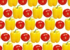 Pimenta e tomate amarelos fotos de stock