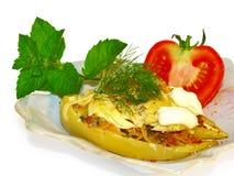 Pimenta enchida com carne e queijo. Foto de Stock Royalty Free