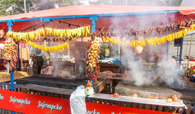 Pimenta fresca Roasted em Roshtilyade Leskovac na Sérvia Imagem de Stock