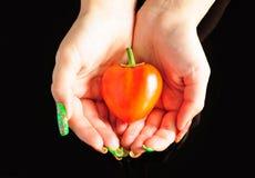 Pimenta Heart-shaped nas mãos da menina imagens de stock
