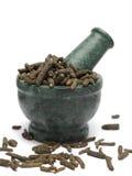 Pimenta longa orgânica & x28; Longum& x29 do gaiteiro; no pilão de mármore Imagem de Stock Royalty Free