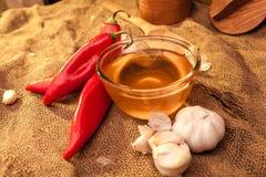 Pimenta, mel e alho de Ramiro Fotografia de Stock Royalty Free