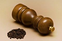 Pimenta-moinho e grões Fotografia de Stock