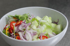 Pimenta, pepino, cebola vermelha, cortada Imagem de Stock