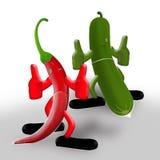 Pimenta, pepino e noite quente Imagem de Stock