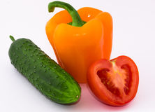 Pimenta, pepino, tomate fotografia de stock royalty free