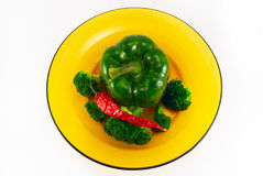 pimenta, pimenta de pimentão e bróculos imagem de stock