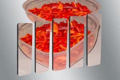 Pimenta vermelha cortada no gráfico de barra 3D Imagem de Stock