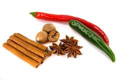 Pimenta vermelha e verde em um fundo branco com close up das especiarias Foto de Stock Royalty Free